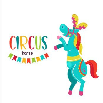 Circus artist. Circus animals. A trained circus horse stands on its hind legs. Decorated with feathers. Vector illustration. Isolated on a white background.