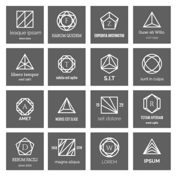Geometric shapes logo. Geometric shapes logo. Hexagon and triangle, square and circle abstract geometrical logo icons vector illustration