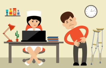 Doctor talking to her male patient at office. Vector illustration