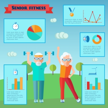 Senior sport infographics with adult couple training and charts set vector illustration. Senior Sport Infographics