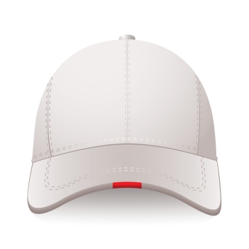 White sports cap with red label and room for your text
