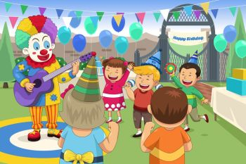 A vector illustration of clown at a kids birthday party