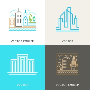 Vector set of logo design templates and symbols in trendy linear style - real estate and architecture concepts - city landscapes and buildings