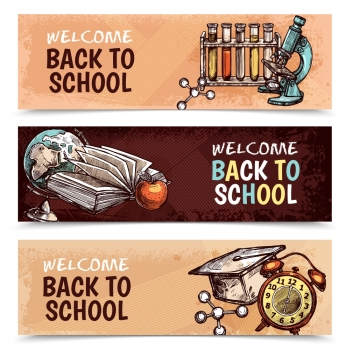 Back To School Banners. Horizontal welcome back to school banners with textural backgrounds and various colorful tools for studying sketch hand drawn isolated vector illustration