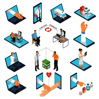 Online medical consultations diagnosis treatment from professional doctors network with laptop smartphone isometric icons collection vector illustration. Online Medicine Doctor Isometric Set