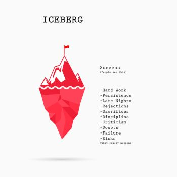 Risk analysis iceberg vector layered diagram.Iceberg on water infographic template.Business and education idea concept.Vector illustration