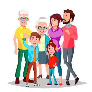 Family Vector. Full Family. Portrait. Dad, Mother, Kids, Grandparents Poster Advertising Template Isolated Cartoon Illustration. Family Vector. Cheerful. Mom, Dad, Children, Grandparents Together. Banner, Flyer, Brochure Design. Isolated Cartoon Illustration