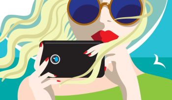 Taking pictures.. Creative conceptual vector. Womans face with a camera.