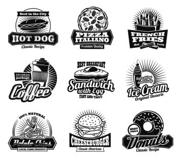 Fast food retro icons of burgers, sandwiches or Italian pizza for cinema bar bistro or fastfood restaurant. Vector menu set of fries, chocolate donut or coffee with soda, hamburger and cheeseburger. Vector fast food restaurant or bistro icons