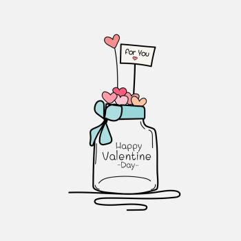 Valentine Day Card With Mason Jars And Heart. Hand Drawn Vector Illustration.