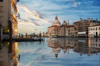 Basilica in Venice at the sunset, Italy