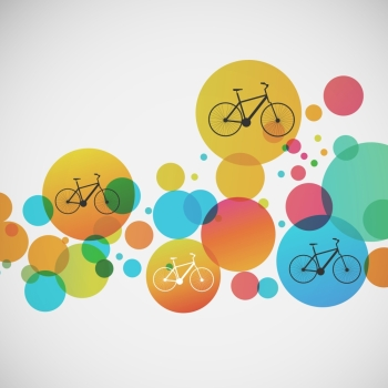 Vector set of bicycle on colored backgrounds.. Vector set of bicycle on colored backgrounds