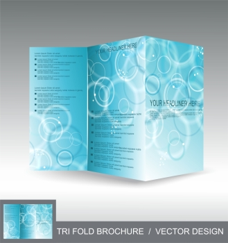 Vector brochure template design with blue awesome background