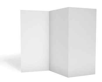 Blank triple leaflet template isolated on white background.