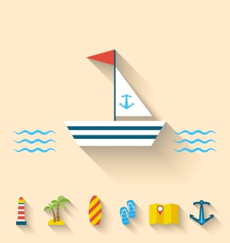 Illustration flat set icons of cruise holidays and journey vacation, simple style with long shadow - vector