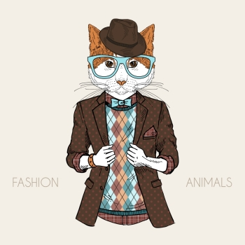 anthropomorphic design. fashion illustration of cat dressed up in hipster style