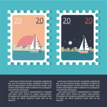 Design a postage stamp. Sea travel. Yacht on the background of the city night and day landscape.