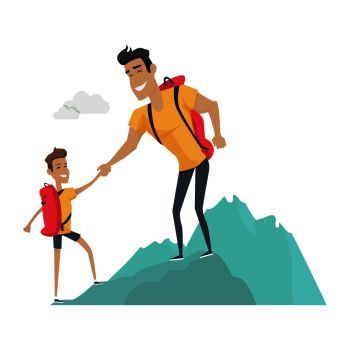 Daddy and son go camping. Sport activities in the mountains. Role model, greatest mentor. Part of series of fathers day celebration banners. Honoring dads. Fatherhood concept, paternal bonds. Vector. Daddy and Son Go Camping. Sport Activities