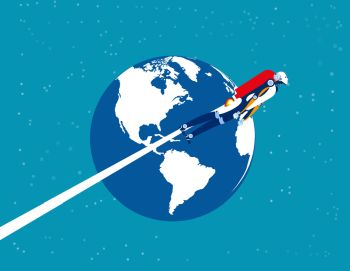 Astronaut robot over the planet earth. Concept business technology vector illustration. Flat cartoon character style design.