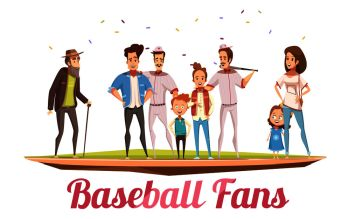 Baseball fans design concept with three generations of big family standing on baseball field flat cartoon vector illustration . Baseball Fans Family Design Concept