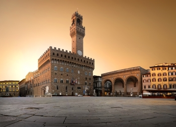 Belltower and the old palace on Piazza della Signoria in Florence, Italy