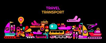 Travel Transport horizontal vector illustration isolated on a black background.