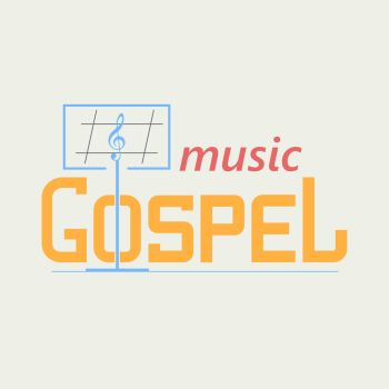 Logo Gospel Music. Logo symbolizing the gospel music. Music stand and the treble clef in the text. Vector logo in a flat style.