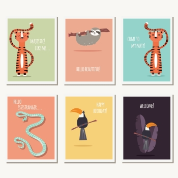 Six greeting cards with cute wild animals and text message, vector illustration