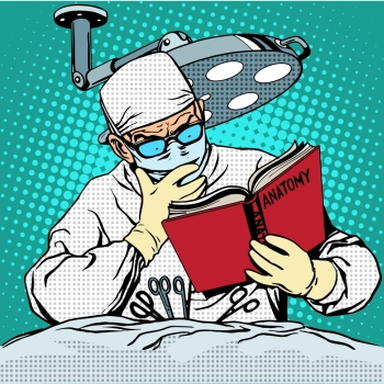 The surgeon before surgery is reading anatomy. Medicine and health pop art retro style. The surgeon before surgery is reading anatomy. Medicine and heal