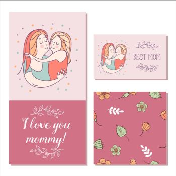 Greeting card mother's day. The best mom. A pretty mother holds . Greeting card mother's day. The best mom. A pretty mother holds cute baby. Linear illustration. Vector emblem. The floral pattern.