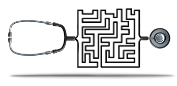 Solving healthcare and health care reform challenges as a doctor stethoscope shaped as a complicated maze as a medical and medicine insurance confusion or prescription medication crisis metaphor as a 3D illustration.