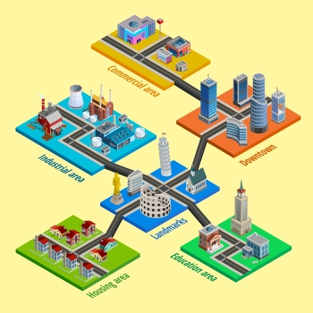 Multilevel City Architecture Isometric Poster. Multilevel city concept with interconnected blocks of business industrial and residential urban layers isometric poster vector illustration