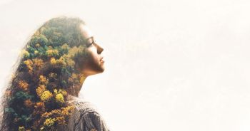 Portrait of young girl and fall forest. Double exposure effect with autumn landscape.. Portrait of young girl and fall forest.