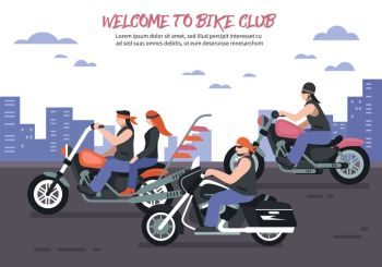 Biker Club Background. Biker club background with men women riding motorbikes in the city flat vector illustration