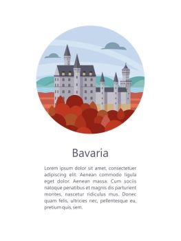 Bavaria. Vector illustration.. Bavaria, Germany. Beautiful landscapes, traditional architecture of Bavaria. Castles, villages, mountains, fields. Postcards, logos, emblems with space for text.