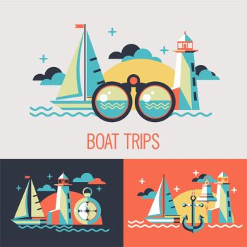 Boat trips. Vector illustration. Seascape with sailboat, lighthouse, binoculars, compass in flat style.