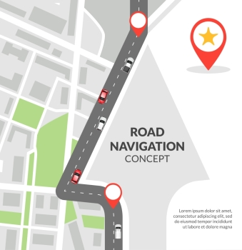 Road navigation concept. Road navigation concept with city map with pins and road with cars flat vector illustration