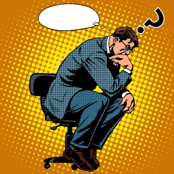 Thinker businessman business concept pop art retro style. Creative thinking the process of the invention idea. Thinker businessman business concept