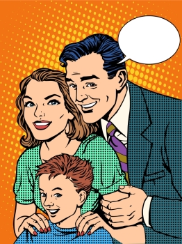 Happy family dad mom and son pop art retro style. Happy family dad mom and son