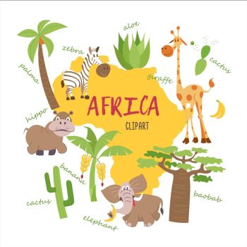 Africa clipart. Nature and animals of Africa on the map. Giraffes, zebras, palm trees, bananas, aloe, cactus, baobab, elephant, Hippo. All the clipart supplied with inscriptions.