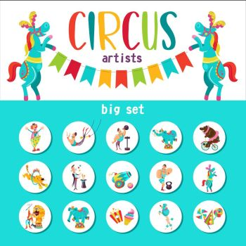 Circus artist. Circus animals. Big collection of cliparts with circus artists. The round emblem, stickers.