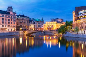 Evening summer scenery of the Old Town (Gamla Stan) architecture in Stockholm, Sweden