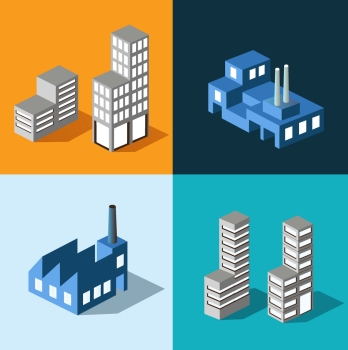 The set of vector buildings with urban transport