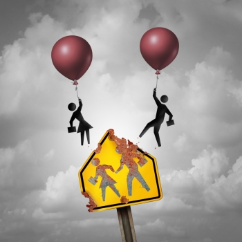 Escape a bad school education decline concept as a decaying student crossing traffic sign with a boy and girl icons leaving with balloons as a learning problem metaphor for changing academic system with 3D illustration elements.