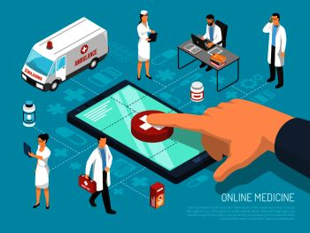 Online medical practitioners doctors consultation on mobile device for quick treatment advice isometric conceptual composition vector illustration . Online Doctor Isometric Medical Composition