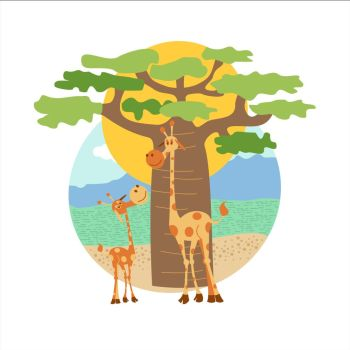 The African animals. Two giraffe, big and small stand near the baobab. Vector illustration. Isolated on a white background.