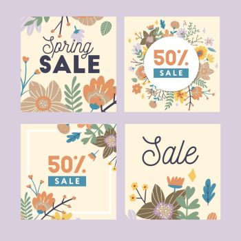 Set of spring flowers vector template for Instagram post, Stories, season sale, discounts, promotional, flyers and posters, apps, websites, printing material . Colorful and floral sale. Set of spring flowers vector template for Instagram post, Stories, season sale, discounts, promotional, flyers and posters, apps, websites, printing material . Colorful and floral sale badges