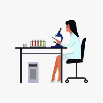Woman working in laboratory with microscope in white robe. Vector illustration of icon with scientist working on experiment isolated on white background. Woman Working in Laboratory Vector Illustration