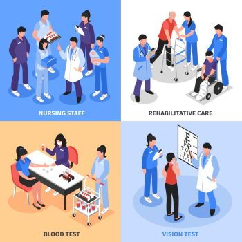 Hospital 4 Isometric Icons Concept . Hospital staff concept 4 isometric icons square with vision blood tests and rehabilitation nurses isolated vector illustration