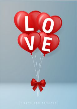 happy Valentine. illustrated love balloons with beautiful shapes. the beauty of a love balloon